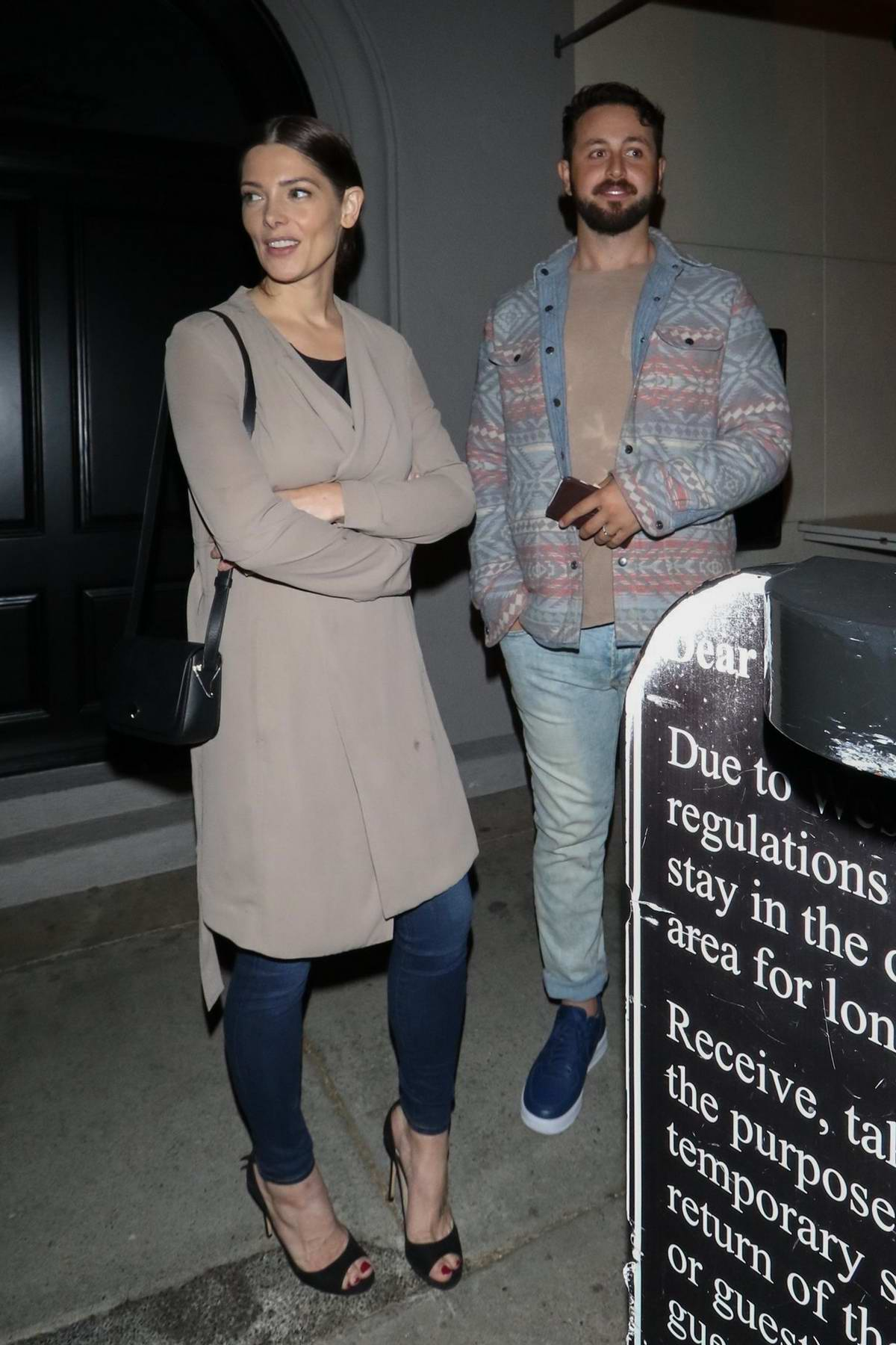 Ashley Greene and Paul Khoury waits for their car after dinner at Craig's Restaurant in West Hollywood, Los Angeles