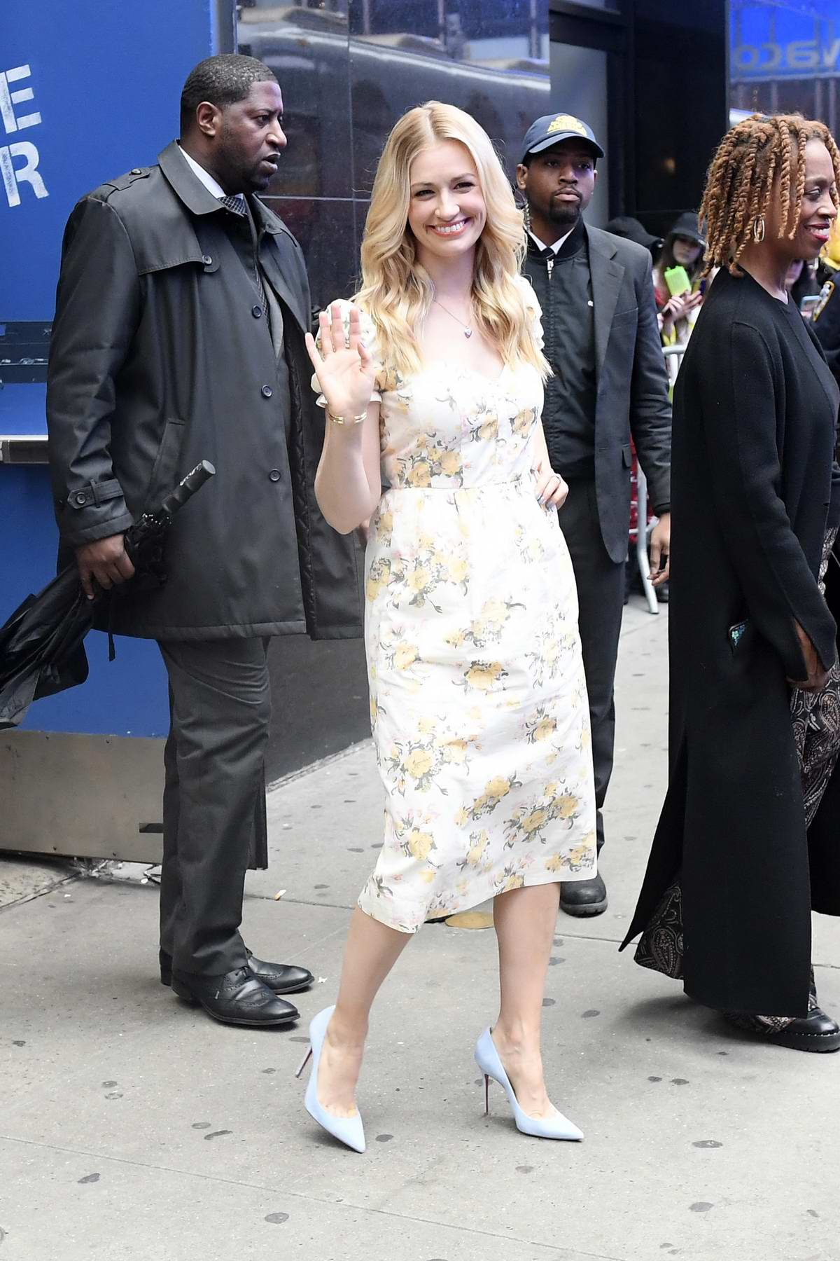 Beth Behrs is all smiles as she leaves ABC Studios in New York City