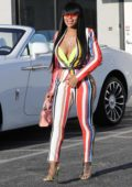 Blac Chyna sports colorful stripes as she arrives at a studio in Burbank, California