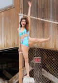 Blanca Blanco poses in a blue swimsuit while enjoying the beach in Malibu, California