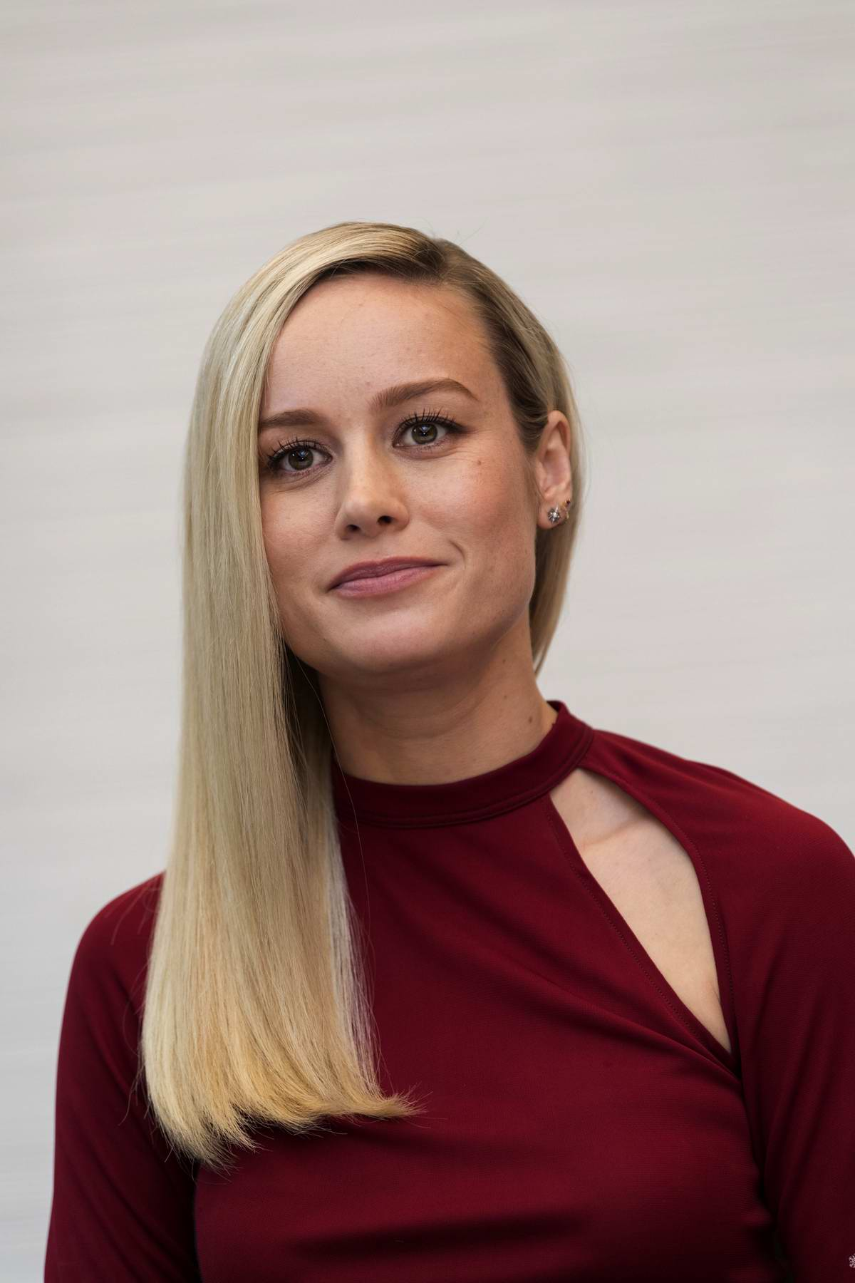 Brie Larson attends 'Avengers: Endgame' Press Conference in Los Angeles