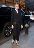 Brie Larson wears a black pantsuit for a Broadway play in New York City