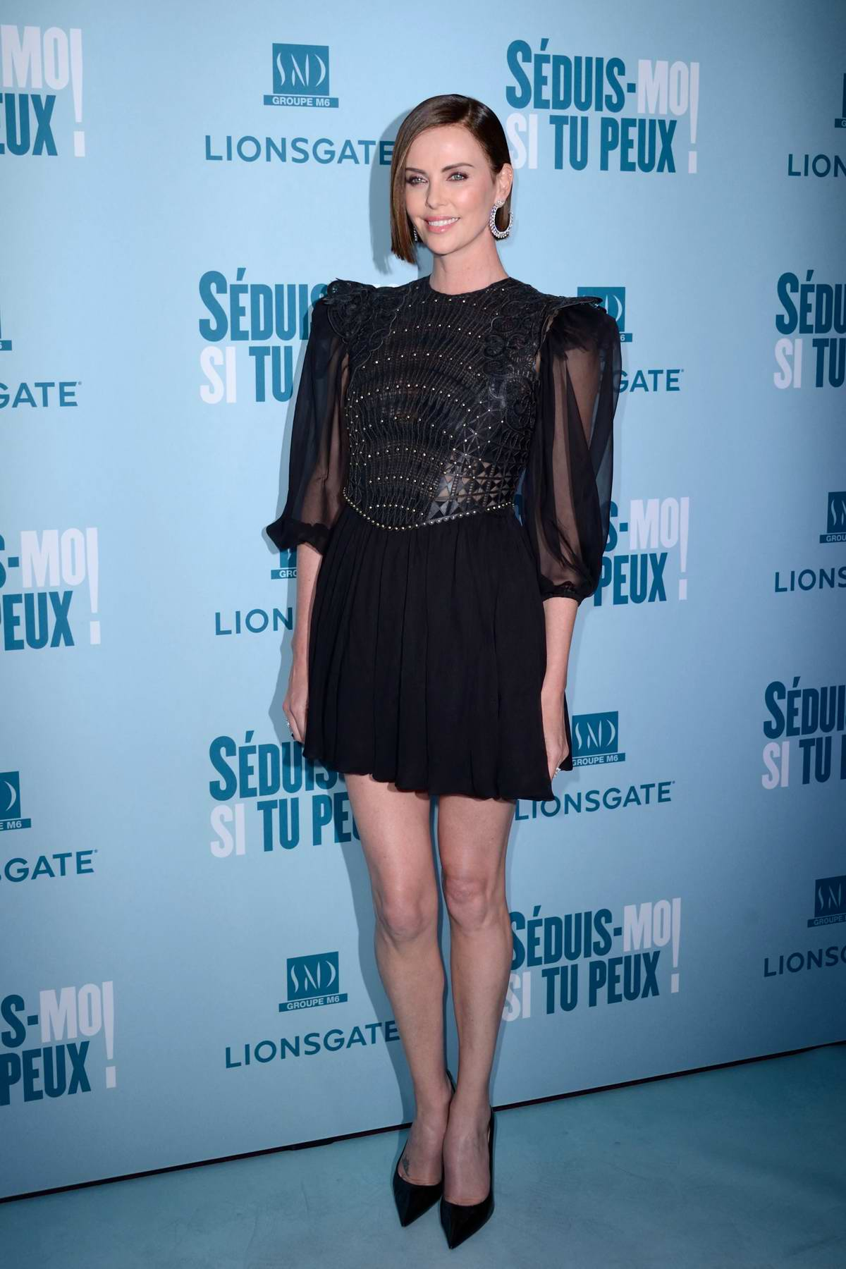 Charlize Theron attends the Premiere of Long Shot at the Gaumont Capucines cinema in Paris, France