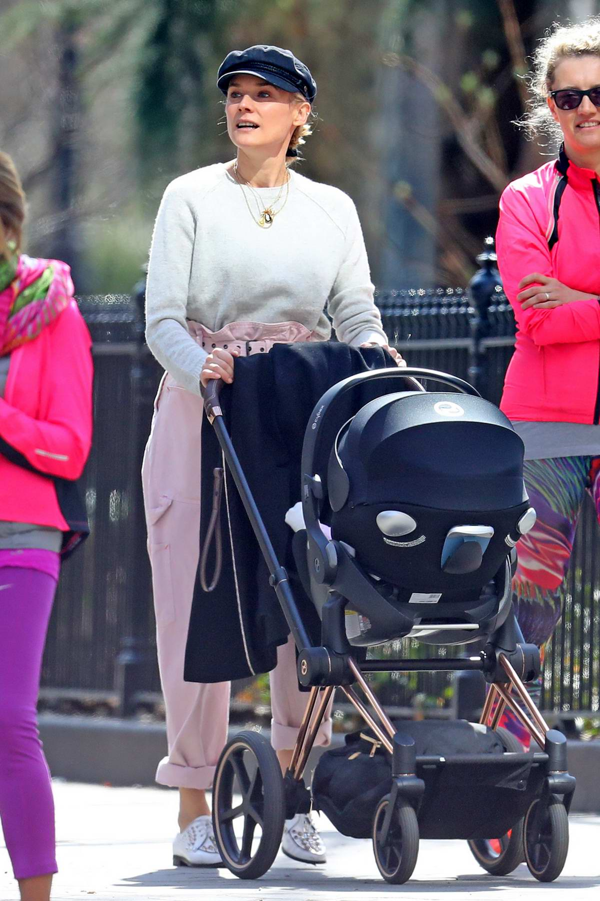 Diane Kruger enjoys a beautiful day with her son in Washington Square Park in New York City