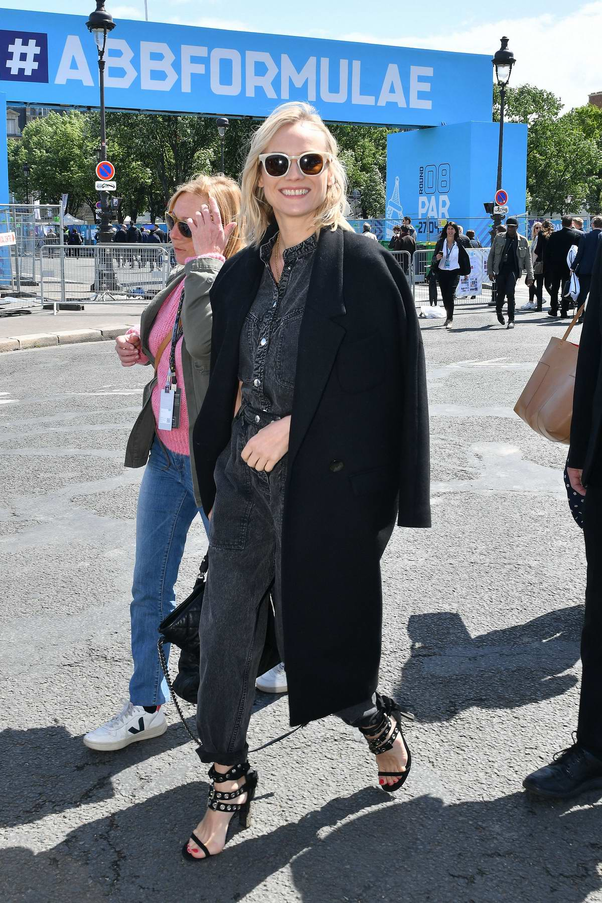 Diane Kruger visits the stands prior to the Formula E Grand Prix in Paris, France