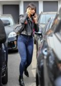 Eiza Gonzalez rocks a biker jacket with skin tight jeans as she leaves Meche Salon in Beverly Hills, Los Angeles