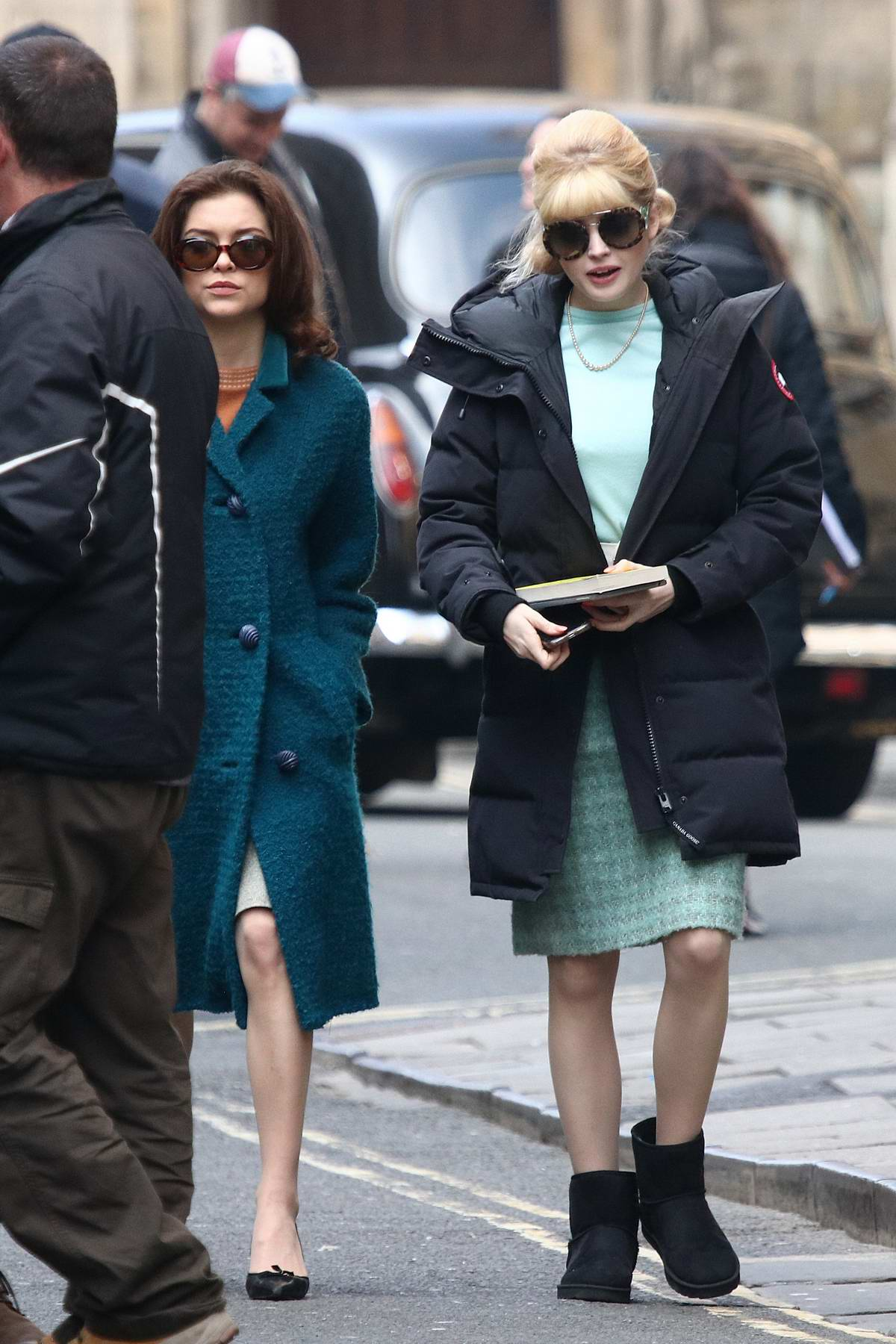 Ellie Bamber spotted filming the new BBC drama 'The Trial Of Christine Keeler' outside Bristol Crown Court in Bristol, UK