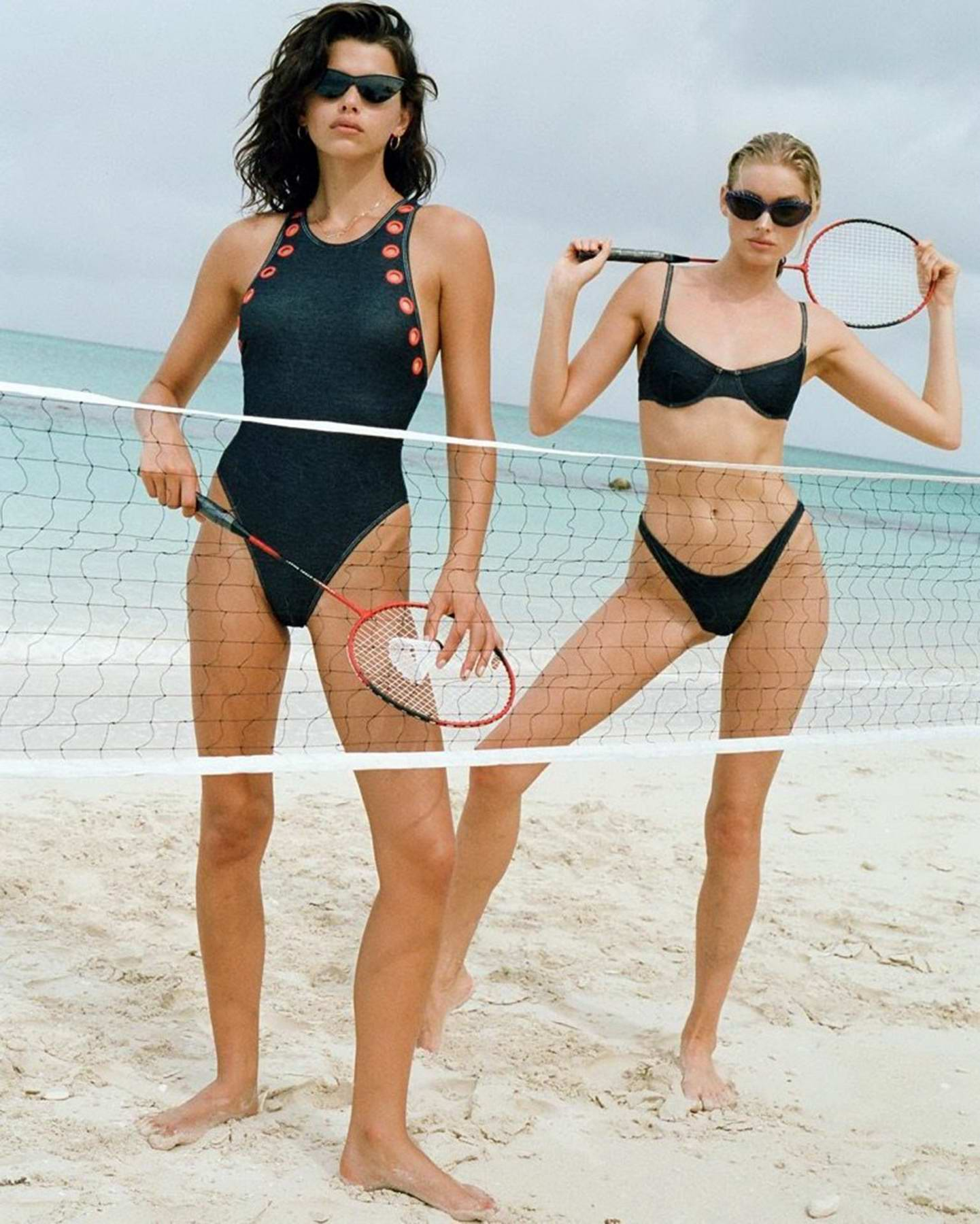 Elsa Hosk and Georgia Fowler poses in multiple swimwear during a new campaign shoot in Turks and Caicos Islands