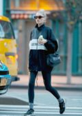 Elsa Hosk dons a black Balenciaga jacket and leggings as she steps out for some shopping in New York City