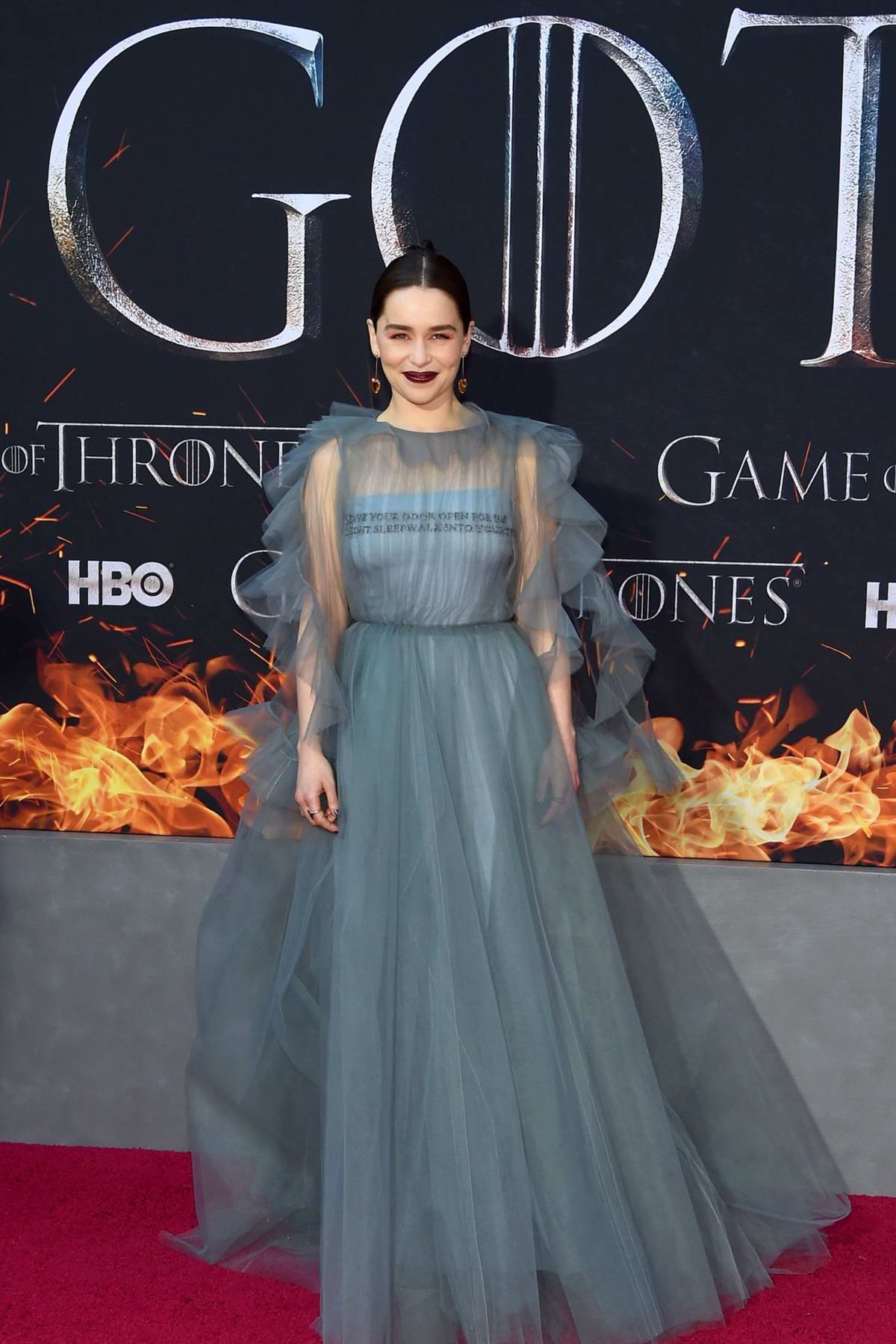 Emilia Clarke attends the Season 8 premiere of 'Game of Thrones' at Radio City Music Hall in New York City