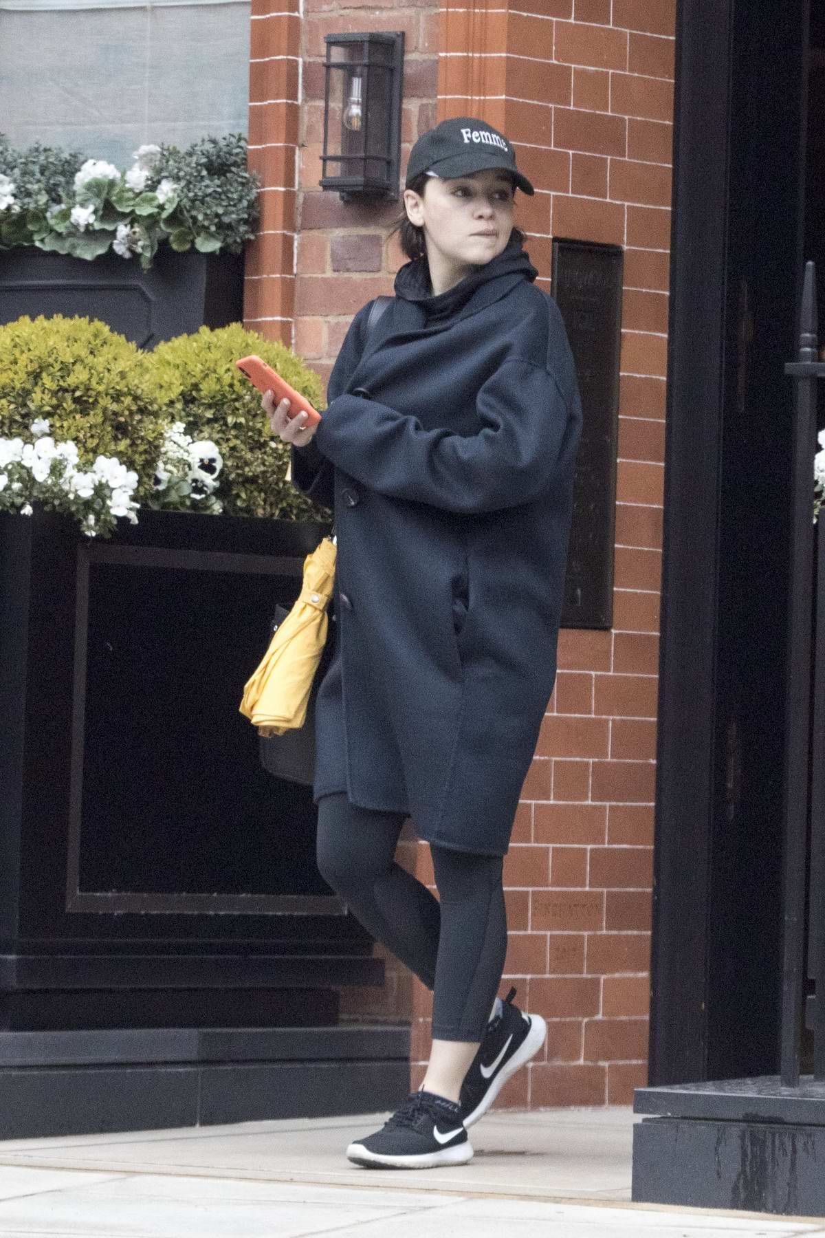 Emilia Clarke seen leaving the gym and gets on a cab in London, UK