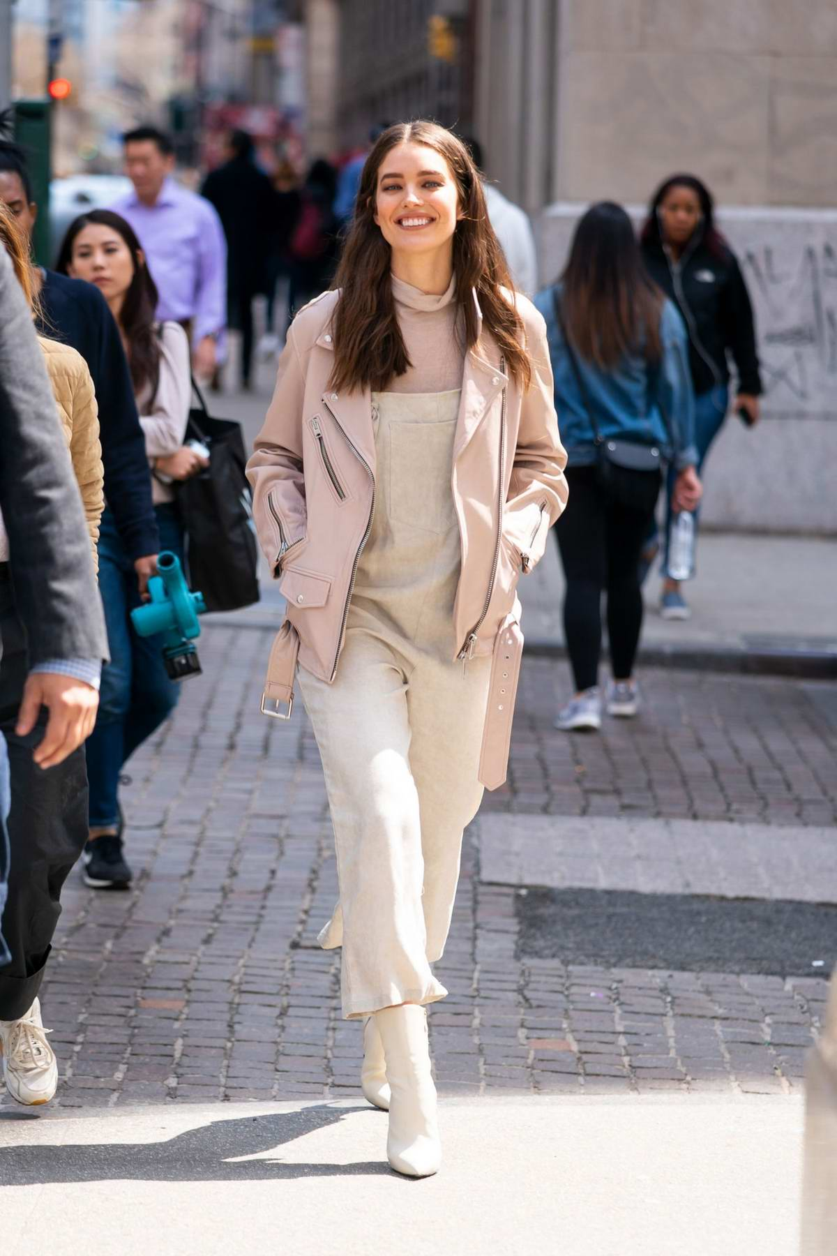 Emily DiDonato keeps it trendy with a smile as she steps out in Soho, New York City