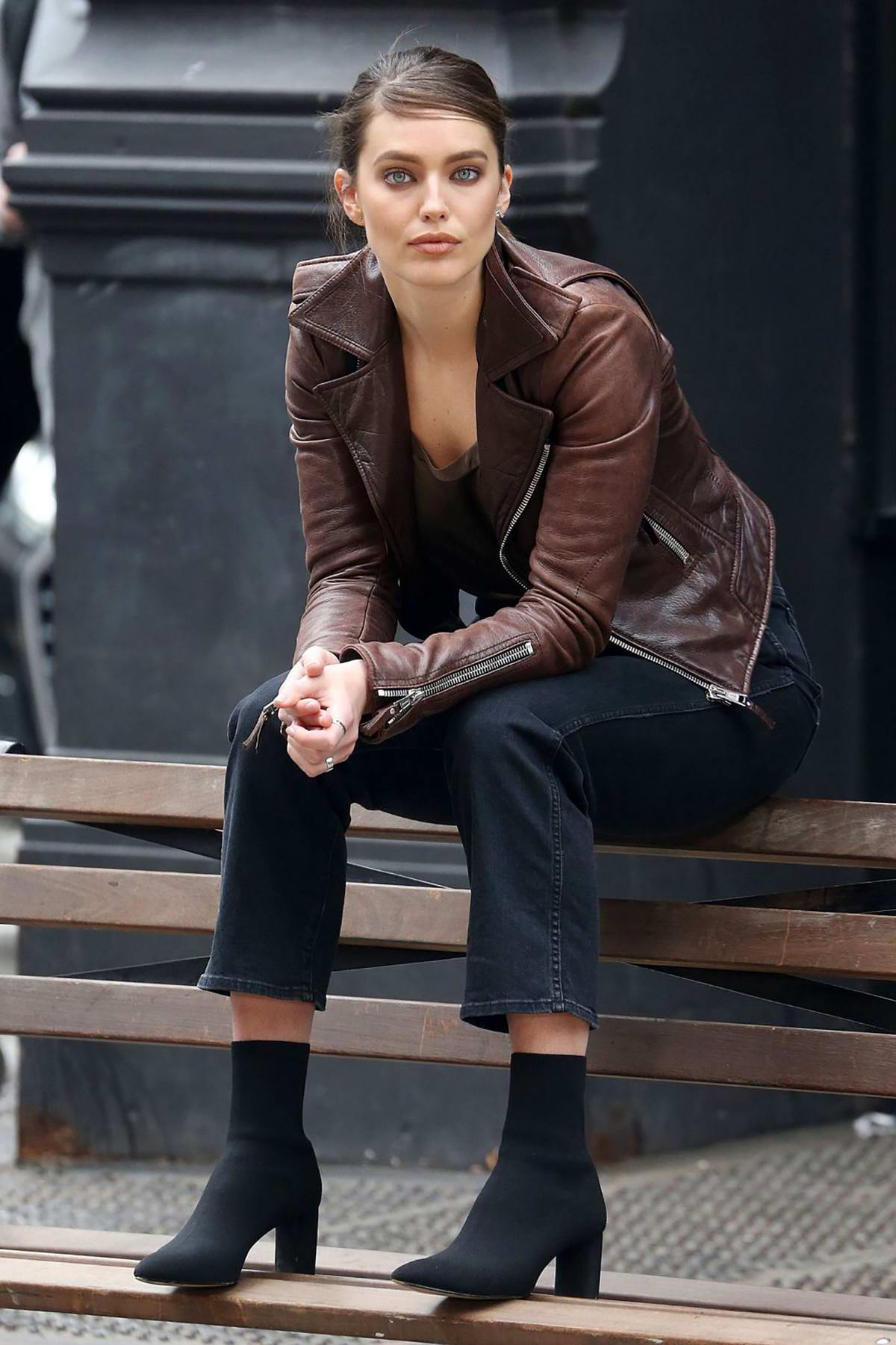 Emily DiDonato looks amazing in a brown leather jacket during a Maybelline photoshoot in New York City