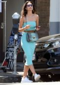 Emily Ratajkowski stuns in turquoise dress for lunch date with her parents in Los Feliz, California