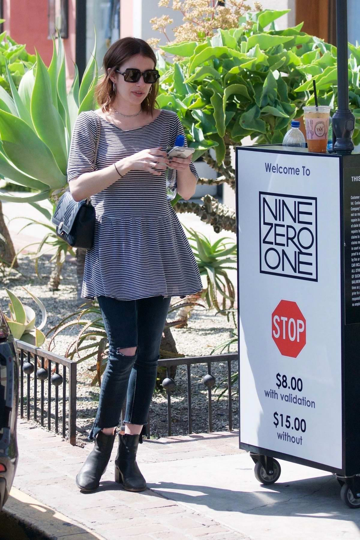 Emma Roberts seen leaving Nine Zero One salon after a fresh new hair cut in West Hollywood, Los Angeles