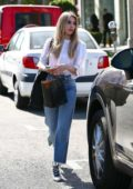 Emma Roberts sports a new blonde look as she leaves Nine Zero One salon in West Hollywood, Los Angeles