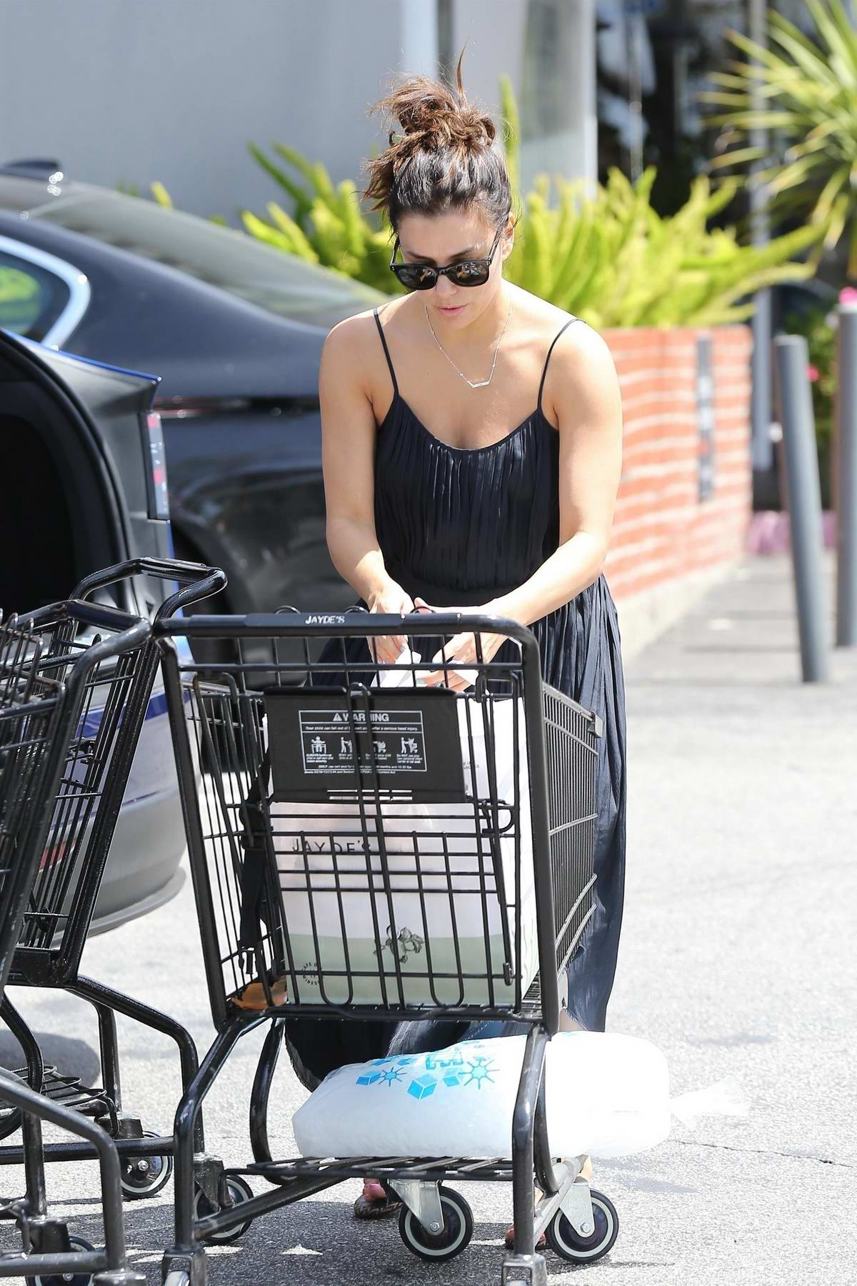 Eva Longoria gets some serious grocery shopping done at Jayde's Market in Los Angeles