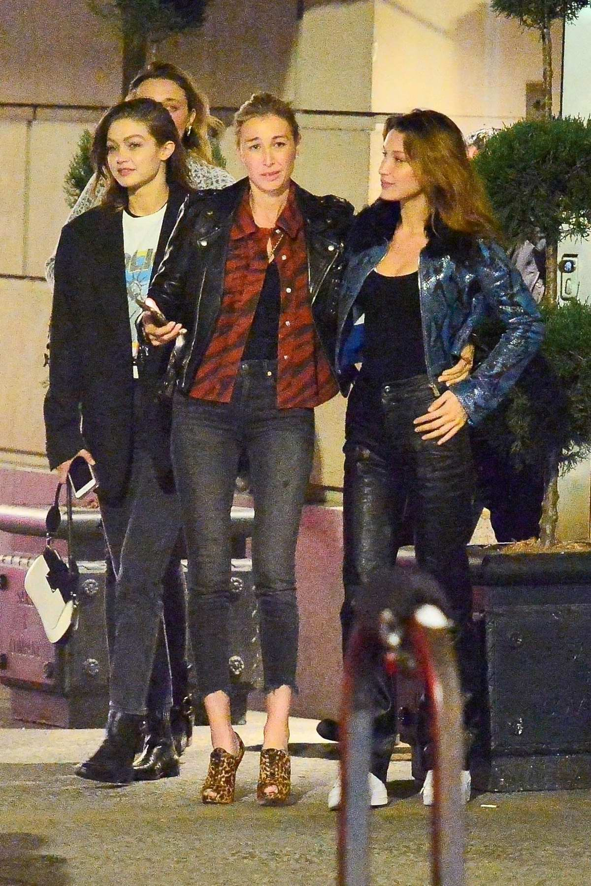 Gigi and Bella Hadid join stepsisters, Marielle and Alana with their mom Mary Butler for rare outing in New York City