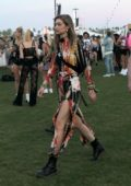 Gigi Hadid spotted in a colorful dress as she arrives for day two of Coachella in Indio, California