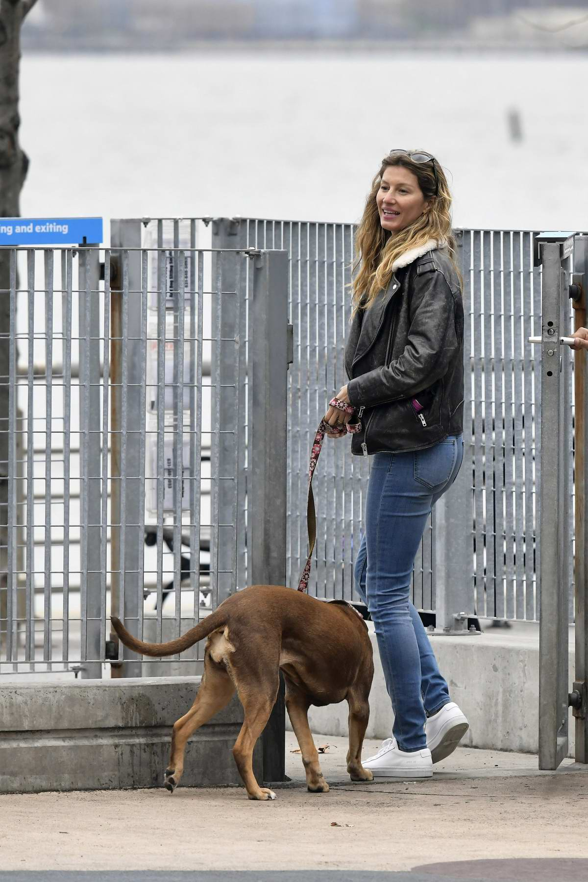Gisele Bundchen steps out in a black leather jacket and jeans to walk her dogs in New York City