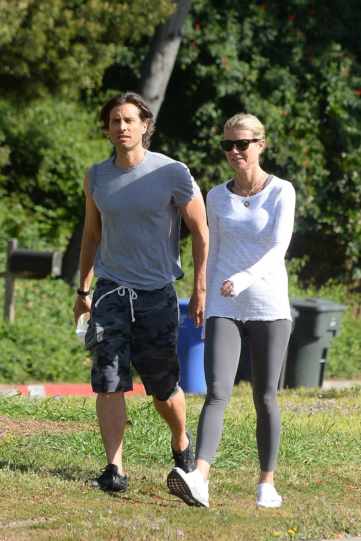 Gwyneth Paltrow spotted in a full sleeve white top and grey leggings while out for a hike with husband Brad Falchuk in Los Angeles