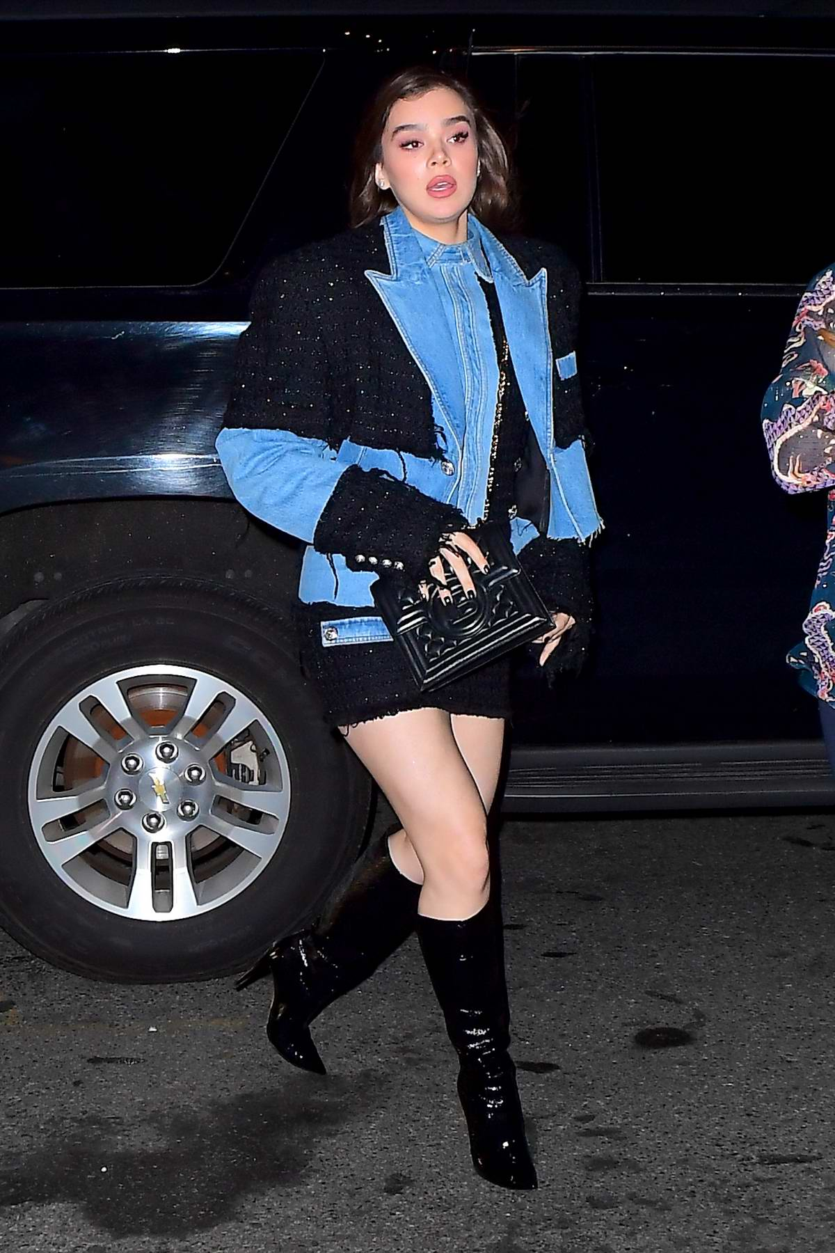 Hailee Steinfeld arrives to Gigi Hadid's denim themed birthday party in New York City