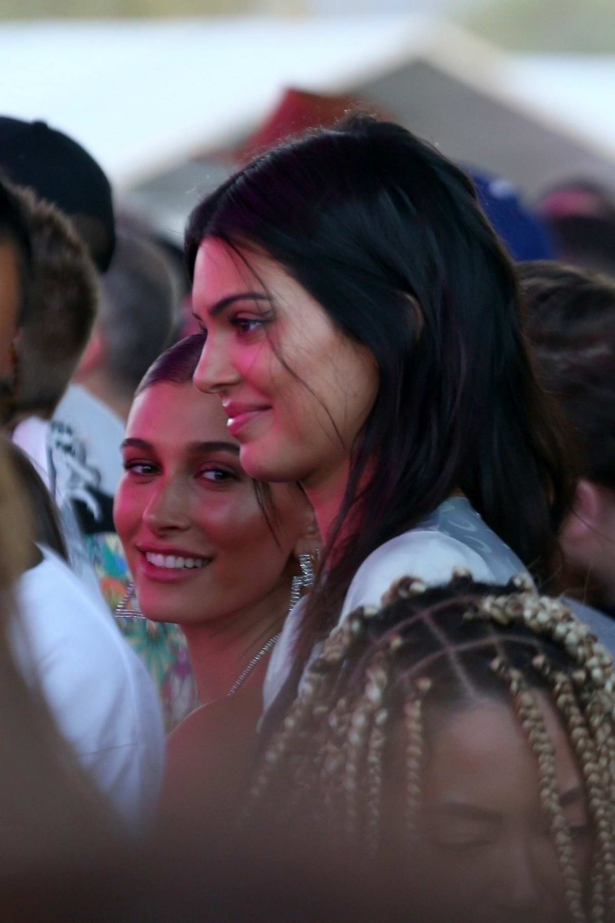 Hailey Baldwin Bieber and Kendall Jenner spotted at the Coachella in Indio, California