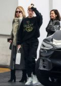 Hailey Baldwin Bieber wearing a Gucci sweatshirt as she leaves after visiting a dermatologist in Beverly Hills, Los Angeles