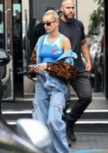 Hailey Baldwin rocks double denim while out for some jewelry shopping at XIV Karats in Beverly Hills, Los Angeles