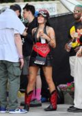 Halsey and Yungblud gets in some PDA while out at Coachella in Indio, California