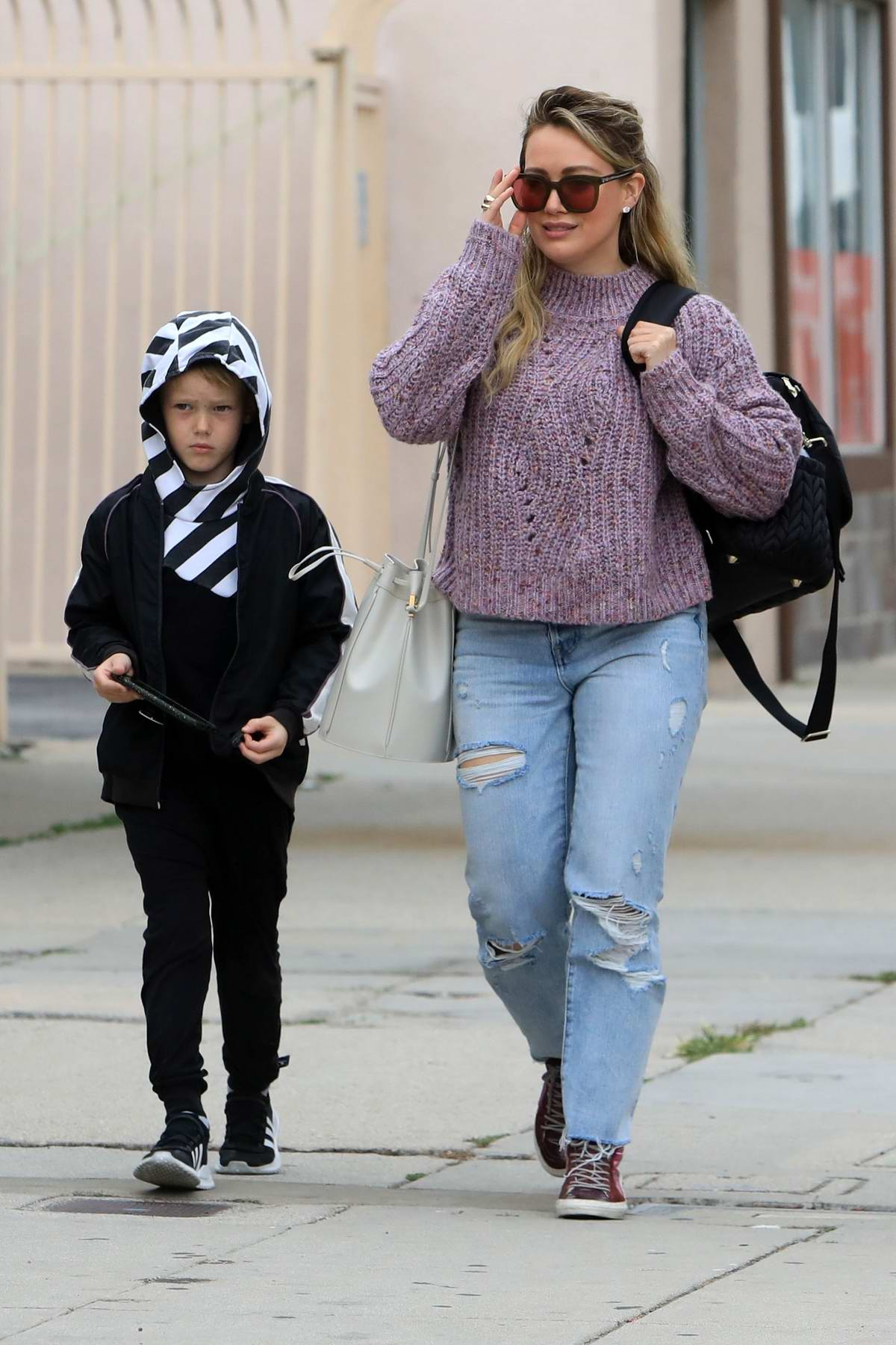 Hilary Duff is seen out with her family for lunch in Los Angeles