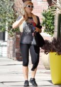 Holly Madison seen wearing 'Star Wars' tee and black leggings as she leaves the gym in Los Angeles