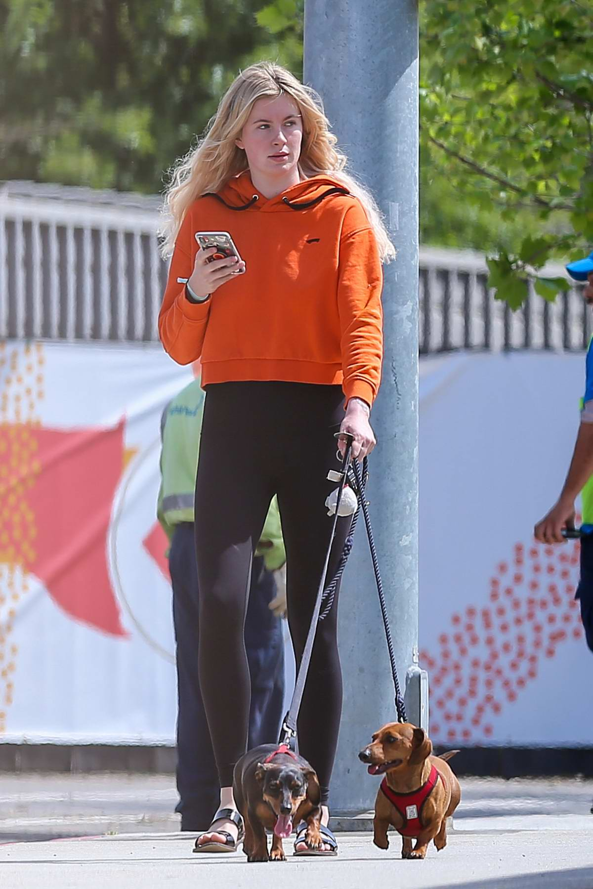 Ireland Baldwin rocks a bright orange hoodie and black leggings while out with Corey Harper and her dogs in Los Angeles