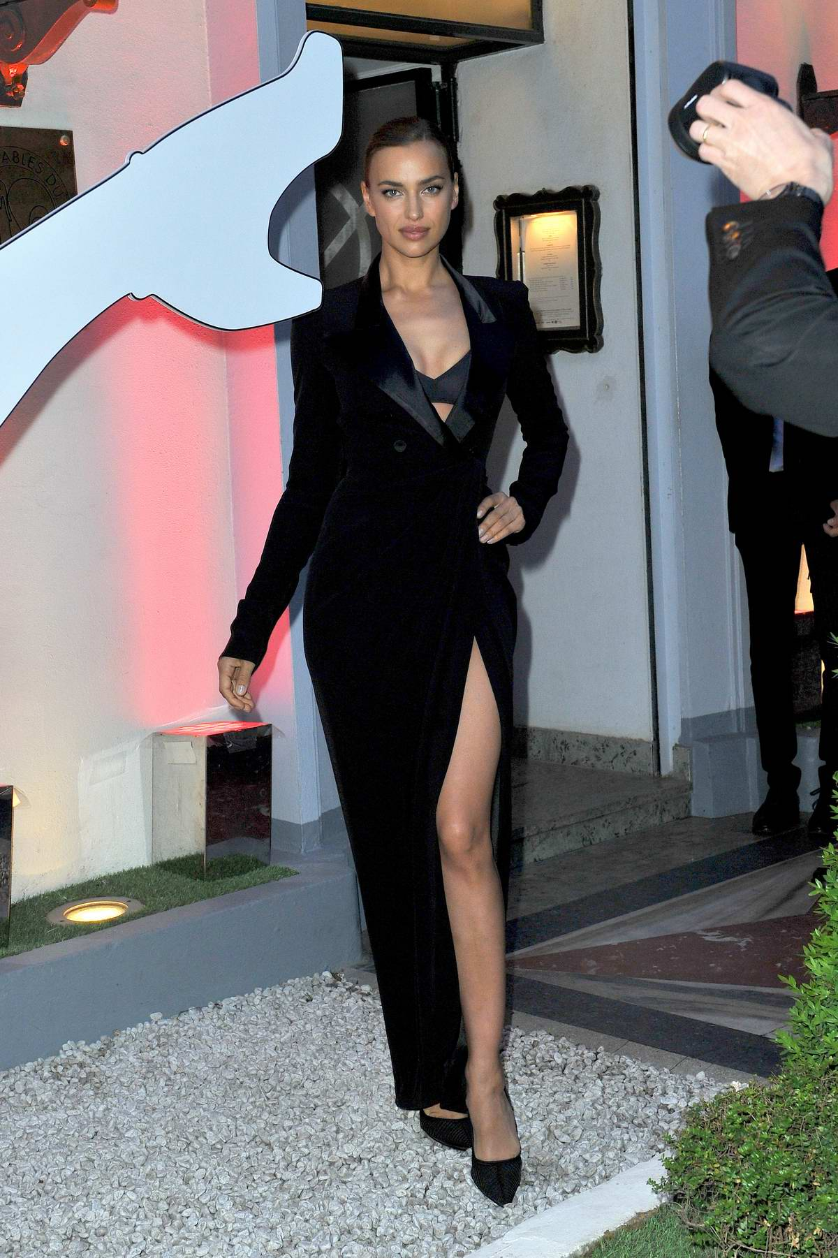 Irina Shayk attends 'Scandal by Jean-Paul Gaultier' party at Lasserre restaurant in Paris, France