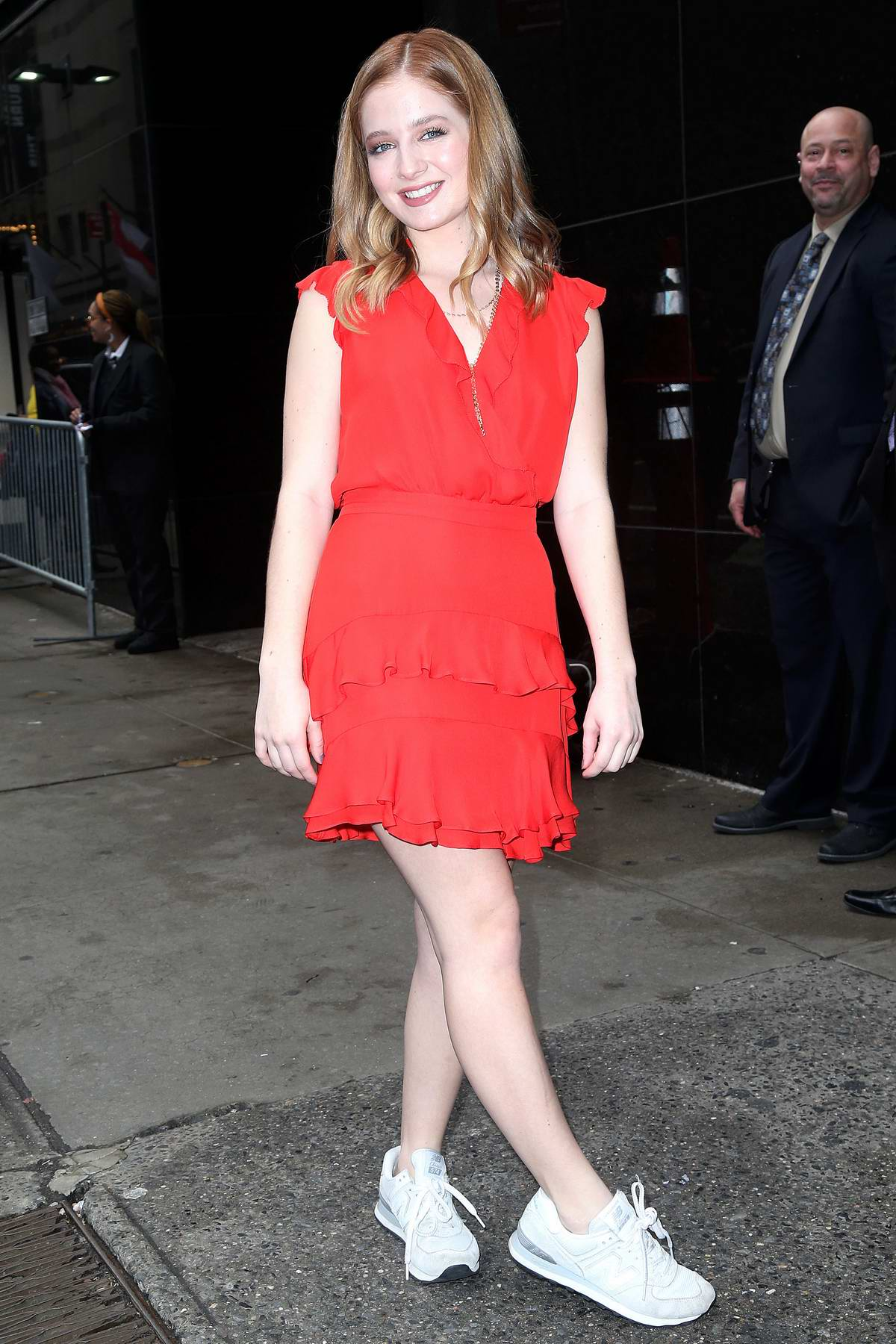 Jackie Evancho looks cute in red while visiting Good Morning America in New York City