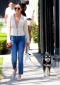 Jamie Chung is all smiles while out shopping at Stella McCartney with her pooch in West Hollywood, Los Angeles