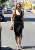 Jamie Chung wears a black tank dress while out shopping in Los Angeles