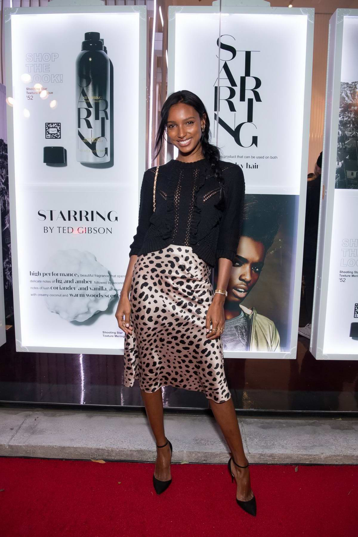 Jasmine Tookes attends 'STARRING by Ted Gibson' Salon opening in Los Angeles