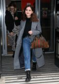 Jenna Coleman spotted in a long tweed coat as she leaves the BBC Radio 2 Studios in London, UK