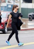 Jennifer Garner leaves the gym with a friend and stops by for some post-workout coffee in Brentwood, Los Angeles