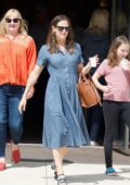 Jennifer Garner looks lovely in a blue denim dress as she attend the Church service in Brentwood, Los Angeles
