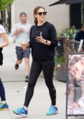 Jennifer Garner sports a black sweatshirt and leggings during a morning coffee run in Brentwood, Los Angeles