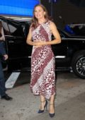 Jennifer Garner wears a patterned dress while visiting Good Morning America in New York City
