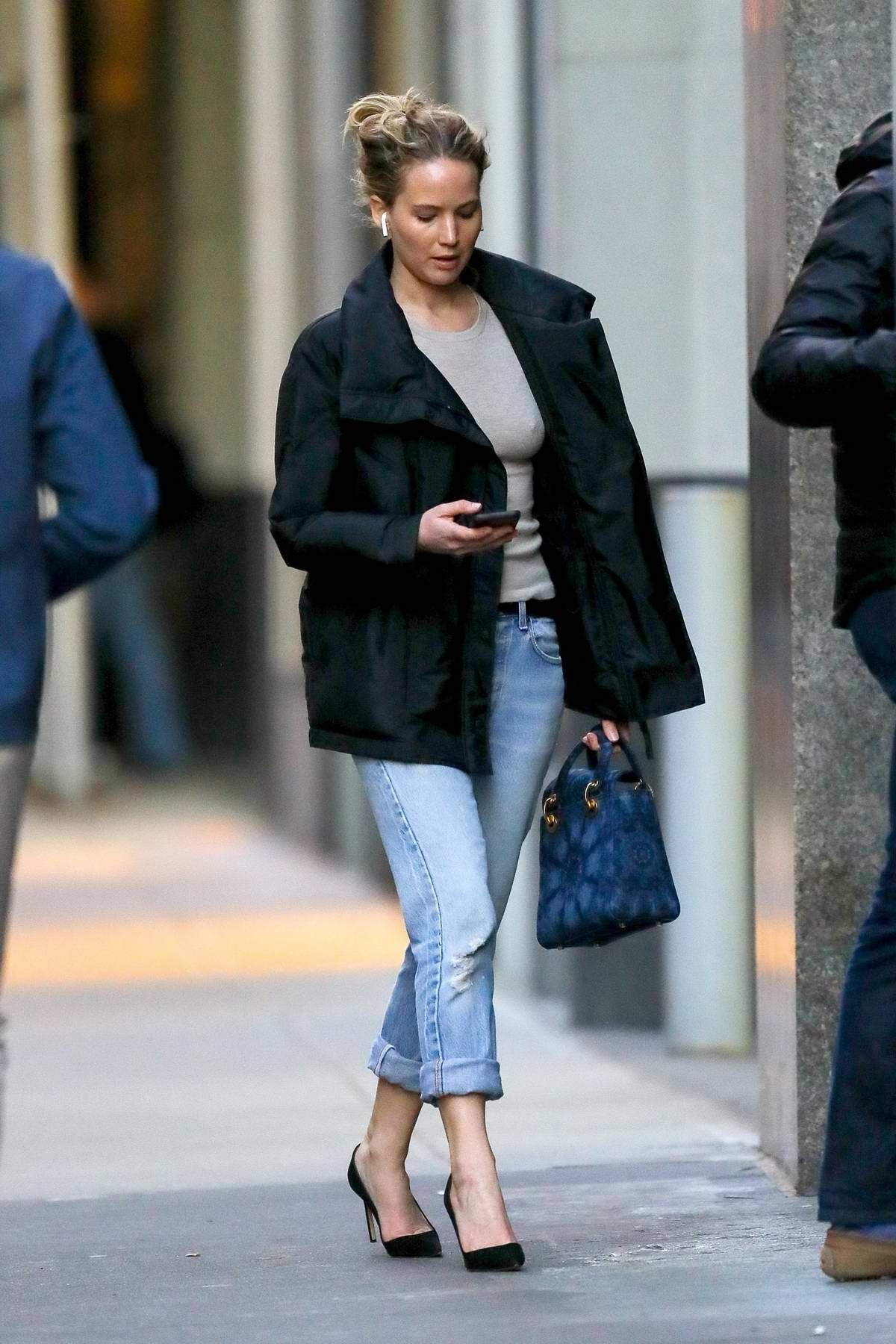 Jennifer Lawrence opts for a smart casual look while out in New York City