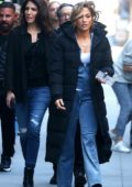 Jennifer Lopez joined by her mother and sister on the set of 'Hustlers' in New York City