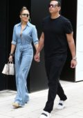 Jennifer Lopez looks stylish in a denim jumpsuit while out for lunch with the family in Miami, Florida