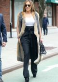 Jennifer Lopez looks stylish in an animal print fur vest as she leaves Z100 studios in New York City