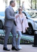 Jennifer Lopez wore a light pink jacket and leggings while out with Alex Rodriguez out in New York City