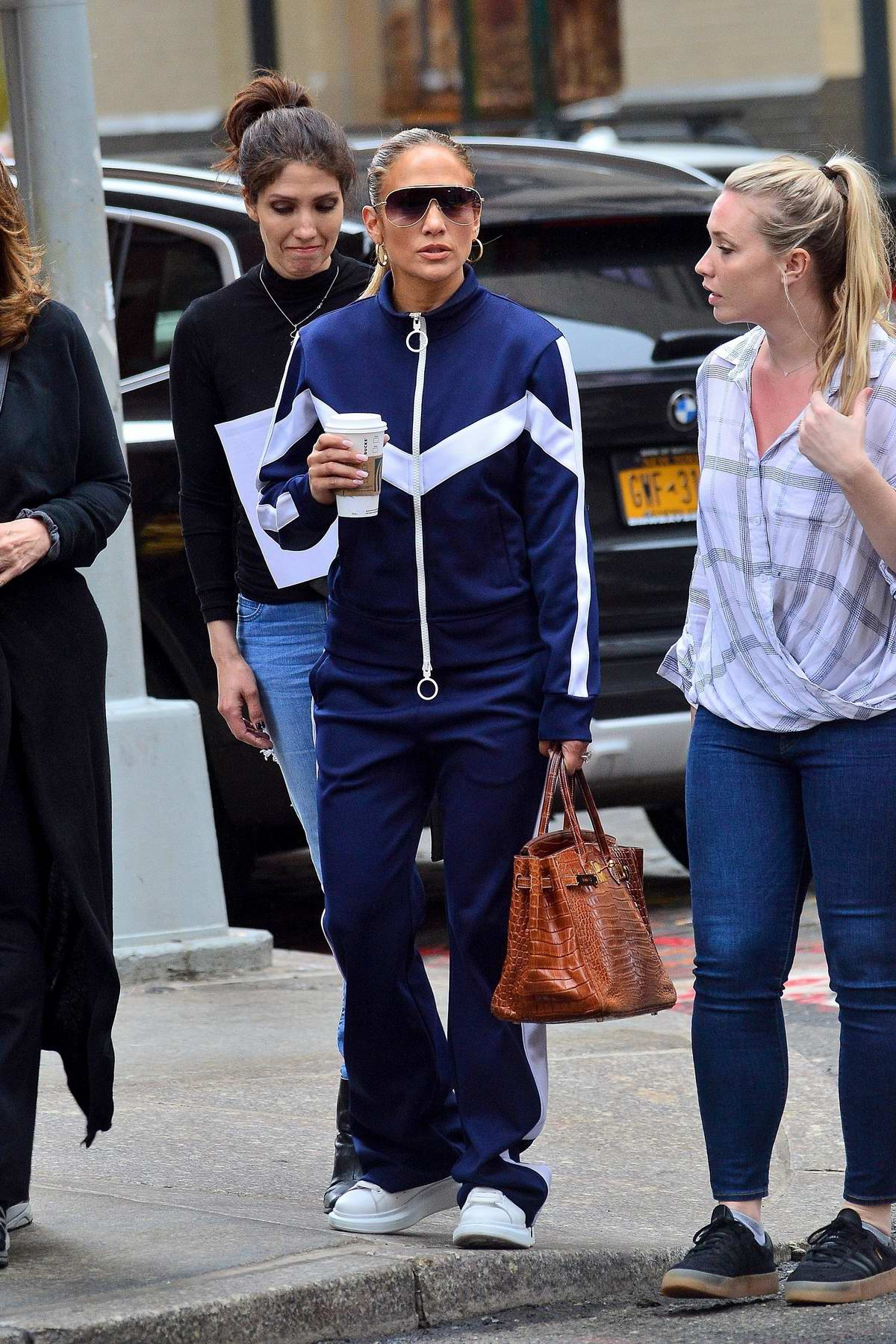 Jennifer Lopez wore blue and white tracksuit as she strolled through in New York City