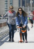Jessica Biel seen riding her son's scooter in Tribeca, New York City
